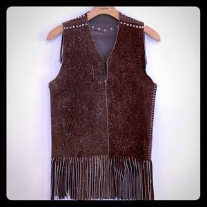 Vintage Buckaroo Leather Fringe Vest